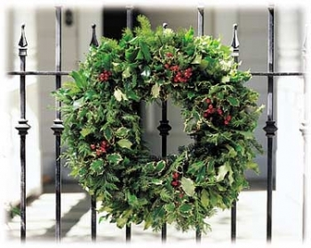 Holly & Evergreen Wreath. approximately 20 inches