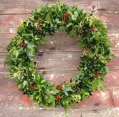 "36"" Life Magazine Wreath Holly & Greens Wreath."