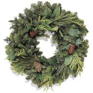 Evergreen Christmas.Christmas Evergreen Wreath With Pinecones Holiday Gift And Christmas Decoration Fresh And Fragrant Holiday Embellishment And Door Ornament Fresh