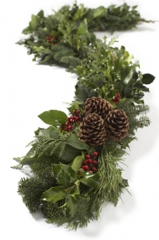6ft Deluxe Holly & Greens Garland