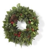 "24"" Deluxe Holly & Greens Wreath"