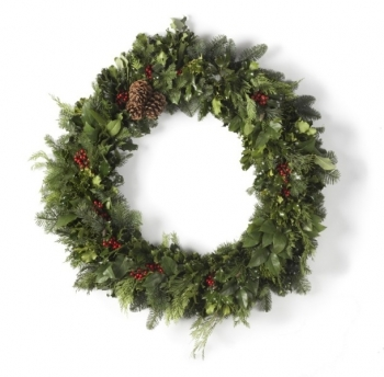 "36"" Deluxe Holly & Green Wreath"