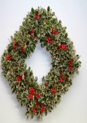 White Square Fragrant Holly Wreath